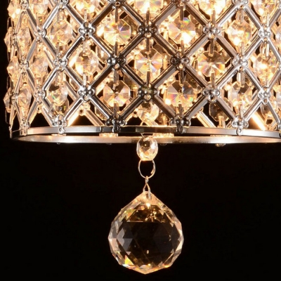 Chrome Cylinder Suspended Lamp Modern Fashion Crystal Single Head Art Deco Hanging Light