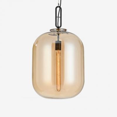 Cognac Cylinder Hanging Light Concise Modern Closed Glass 1 Bulb Decorative Pendant Lamp