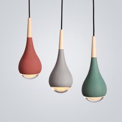 Concreted Teardrop Suspension Lamp Designers Style Art Deco Hanging Light for Hallway