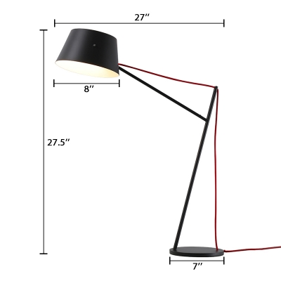 Conical Shade Table Lamp Designers Style Metal Desk Light in Black with On/off Push Switch