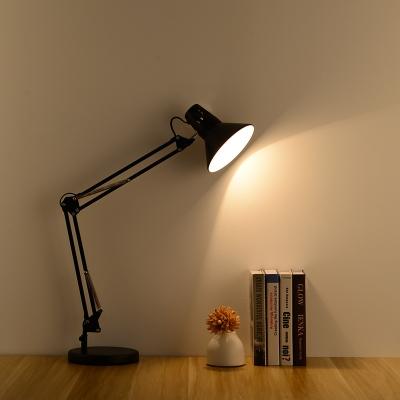 Contemporary Cone Desk Light Adjustable Steel 1 Head LED Desk Lights in Black for Bedroom