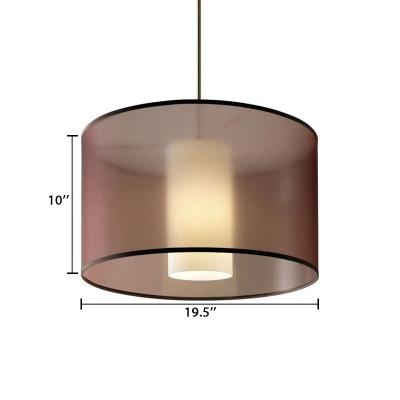 Cylindrical Shade Chandelier Light Contemporary Fabric 4 Lights Lighting Fixture