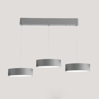Drum LED Island Pendant Light Contemporary Style Acrylic 3 Lights Luminaire Lighting in Black