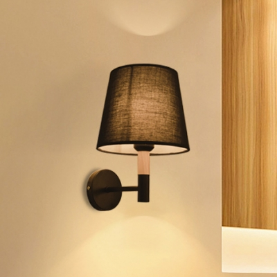 Fabric Shade Tapered Wall Mount Light Simple Modern Single Light Wall Lamp in Black for Bedside