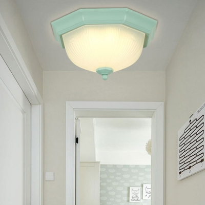 Frosted Glass Octagon Flushmount with Bowl Shade Simplicity LED Flush Light Fixture in Green/Pink