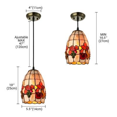 Fruit Pattern Shell Bell Shade One Light Tiffany Mini Pendant