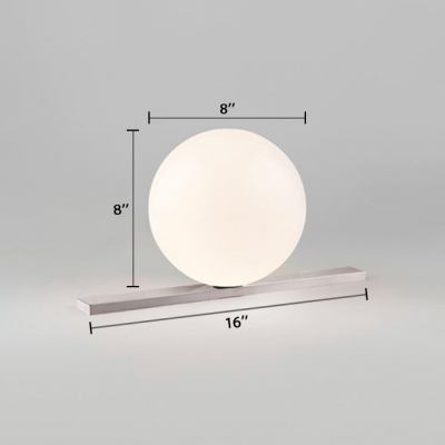 Globe Table Light Simplicity Milky Glass 1 Bulb Table Lamp in Silver for Study Room