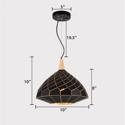 Gyro Suspended Lamp Modern Fashion Wood 1 Light Art Deco Lighting Fixture in Black