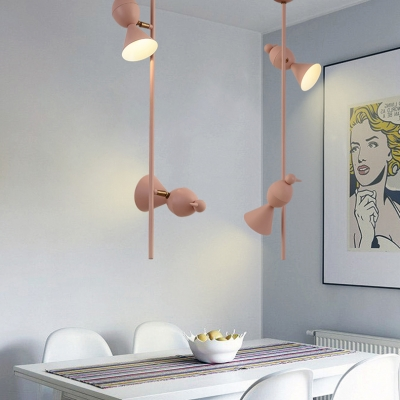 Macaron Linear Lighting Fixture with Cone Shade Boys Girls Room Metal 2 Lights Ceiling Lamp in Blue/Pink