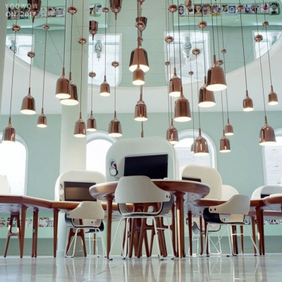 Metal Wine Pendant Light Concise Modern LED Lighting Fixture in Gold for Kitchen