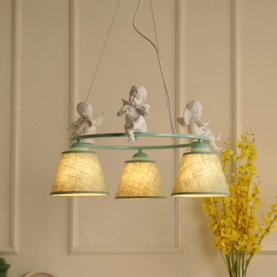 Metallic Ring Suspended Light with Angel Baby Decoration Vintage 3/6 Lights Chandelier Lamp in Green