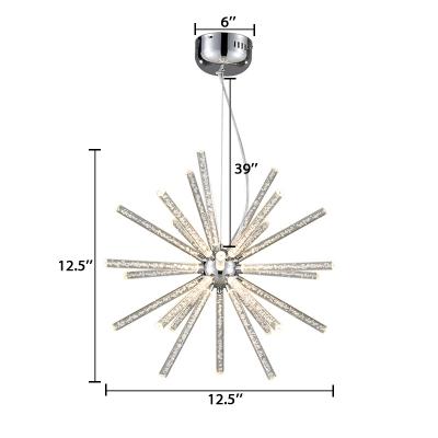 Metallic Sputnik Hanging Lamp Contemporary Multi Light LED Chandelier Light in Chrome