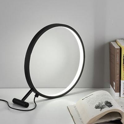 Modernism Circular Table Lamp Metal Standing Table Light in Warm/White for Study Room