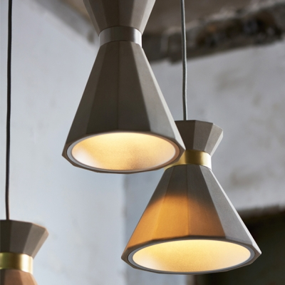 New Creative Geometric Ceiling Lamp Contemporary Concrete Hanging Pendant Light in Gray