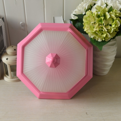 Rustic Style Octagon Wall Mount Fixture Frosted Glass LED Sconce Light in Pink for Staircase
