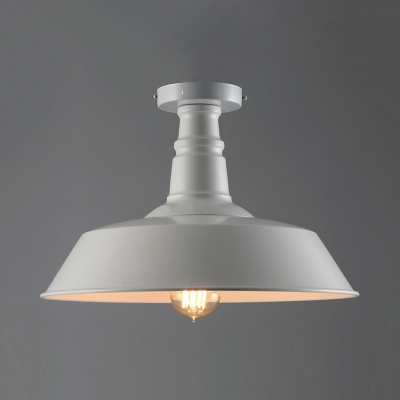 Single Barn Shade Semi Flush Ceiling Light Retro Style 14'' Wide Metal Close to Ceiling Light in White