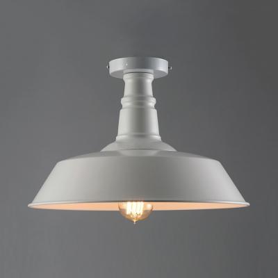 super popular ac382 ae5fb Single Barn Shade Semi Flush Ceiling Light Retro Style 14'' Wide Metal