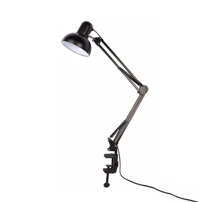 Single Head Dome Desk Lights Contemporary Simple Steel Desk Lamp in Black with Swing Arm