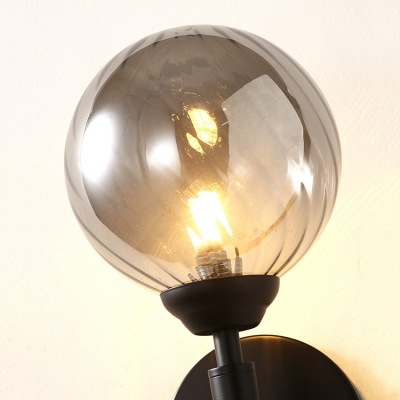 Spherical Wall Lamp Contemporary Smoke Glass Single Light Art Deco Wall Mount Light in Black Finish