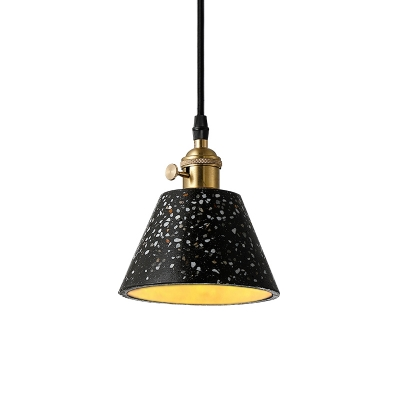 Tapered Shade Ceiling Lamp Concise Modern Height Adjustable Cement Pendant Light in Black