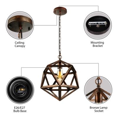 Vintage Hexagram Metal Cage Pendant Light in Black Finish Industrial 1 Light Hanging Lamp for Restaurant Kitchen Cafe