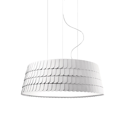 White Finish Roofer Suspended Light Contemporary Steel 5/6 Bulbs Hanging Light for Living Room
