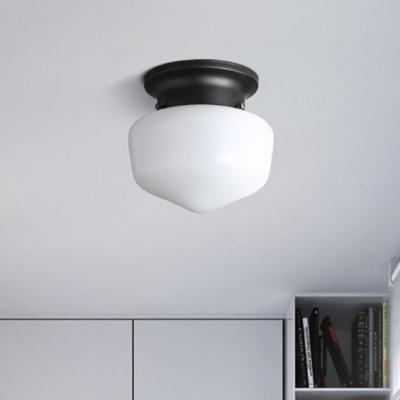 White Glass Schoolhouse Flush Mount Vintage Simple 1 Light Mini Ceiling Light In Black Finish Beautifulhalo Com