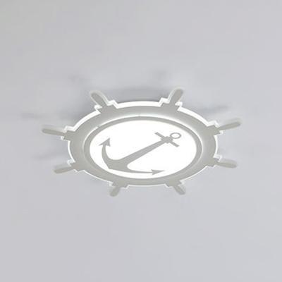 White Round Rudder LED Flush Light Modernism Acrylic Ceiling Fixture for Boys Girls Room