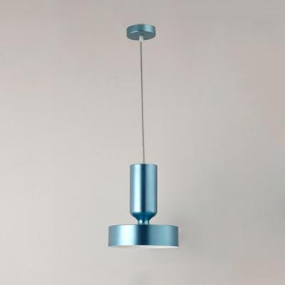1 Head Drum Pendant Light Modern Fashion Metallic Accent Drop Light in Polish Blue/Red