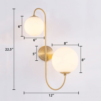 2 Light Curved Arm Wall Sconce Stylish Glass Wall Light with 2 Different Size Ball Shade