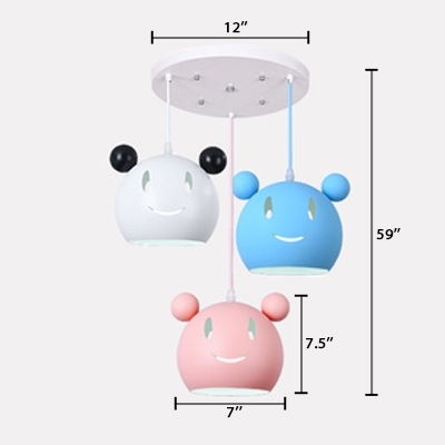 3 Heads Cartoon Mouse Pendant Lamp Baby Kids Room Metal Suspended Light in Multi Color