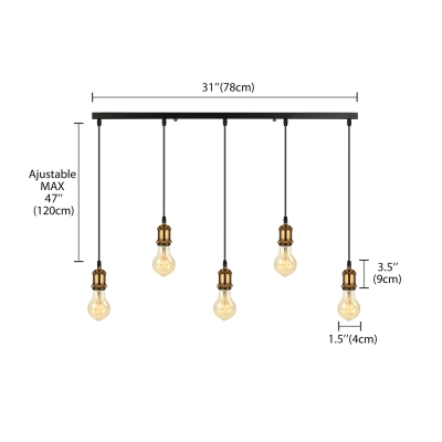 5 Light Hanging Linear LED Mulit Light Pendant in Antique Brass for Kitchen Pool Table Bar Counter