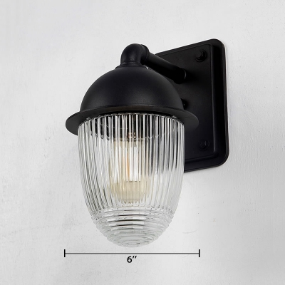 Black Finish Ribbed Wall Lighting Industrial Simplicity Closed Glass Single Head Sconce Light