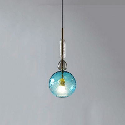 Colorful Glass Cup/Globe Drop Light Contemporary 1 Head Hanging Lamp for Sitting Room
