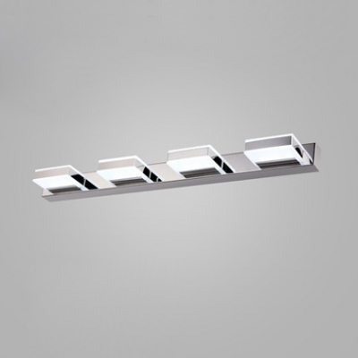 Contemporary Square Makeup Light Acrylic 1/2/3/4 Heads Vanity Light in Warm/White for Mirror