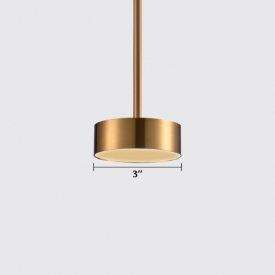 Drum Shade Ceiling Lamp Light Post Modern Metal Gold Finish LED Hanging Pendant for Bar Dining Room