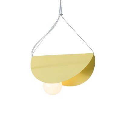 Folded 1 Light Hanging Light Blue/Gray/Orange/Yellow Metal Pendant Lamp for Bedroom Foyer