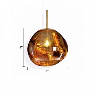 Gold Pendant Lamp Post Modern Glass 1 Light Accent Suspended Lamp for Living Room