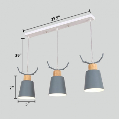 Gray/Green Conical Hanging Lamp with Antler Macaron Metal 3 Lights Lighting Fixture for Children Room