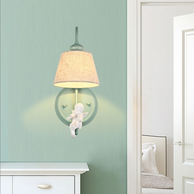 Green Finish Cone Sconce Lighting with Angel Decoration Rustic Style 1 Bulb Wall Light with Fabric Shade