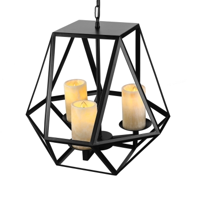 Heavy Cage Wrought Iron Three-light LOFT LED Pendant Light