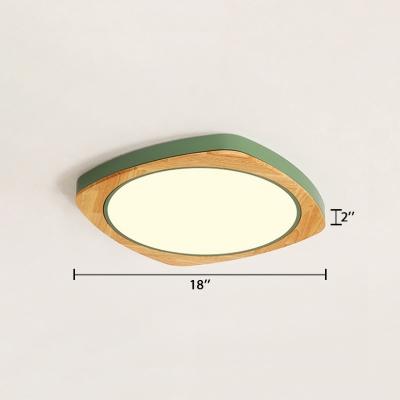 Nordic Style Square LED Flush Light Wood Flush Ceiling Light for Living Room in Warm/White