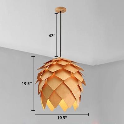 Pinecone Shade Pendant Light Natural Designer Woody Hanging Light for Living Room