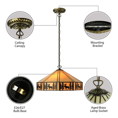 Rustic Style 6/12/18 Inch Hanging Pendant Lighting in Tiffany Stained Glass Style