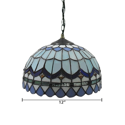 Sea Blue Dome Shape Shade Mini Pendant Light Stained Glass Tiffany Style