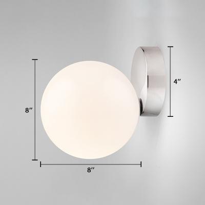 Silver Finish Orb Sconce Light Minimalist Opal Glass 1 Light Decorative Wall Mount Fixture