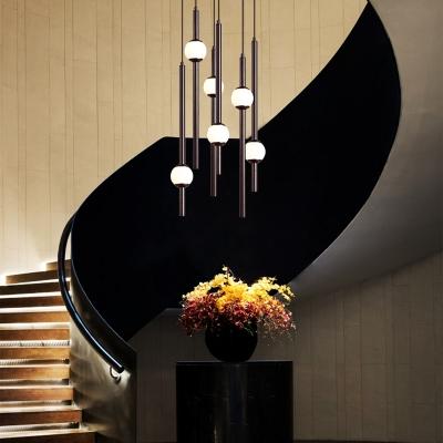 Slim Tube Pendant Lamp Contemporary White Glass 4 Light/6 Light LED Mini Orb Hanging Light