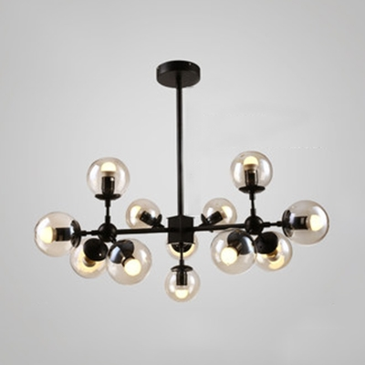Transparent Glass Ball Chandelier Designers Style Multi Light Drop For Dining Room