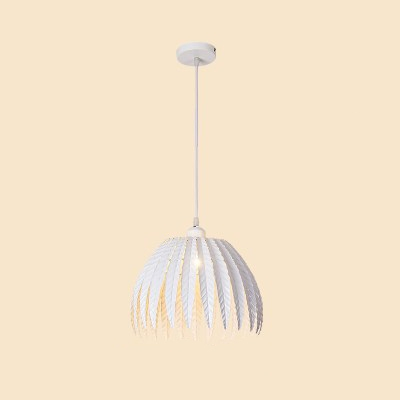 White Finish Leaf Drop Light Modern Design Iron Single Head Suspended Lamp for Coffee Shop