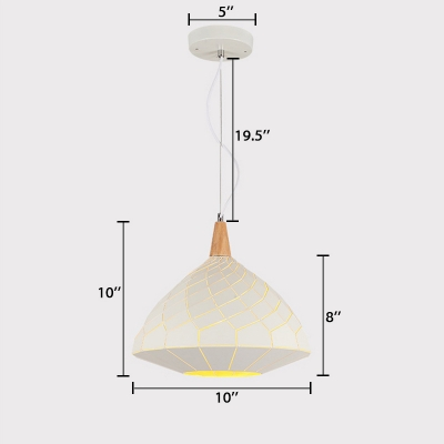 Wood Gyro Drop Light Designers Style 1 Head Pendant Lamp in White for Living Room